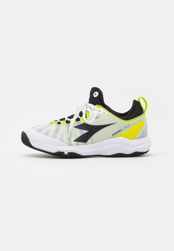 SPEED BLUSHIELD FLY 3 + CLAY - Tenisové boty na antuku - white/black/lime green