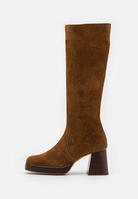 BETINA - Platform boots - croute cognac