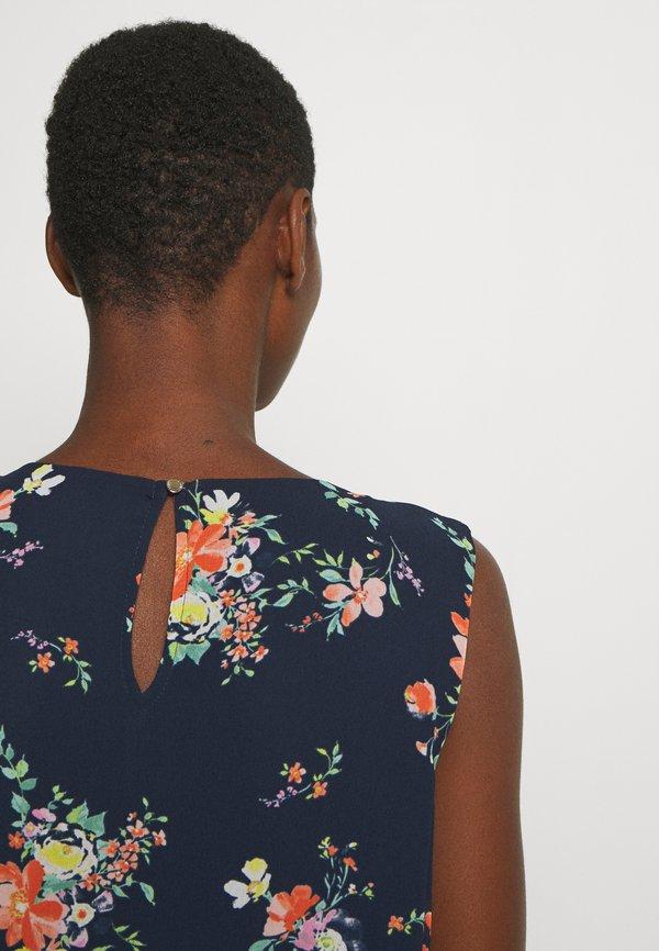 Esprit Collection Bluzka - navy W kwiatki Odzież Damska FIUT HT 6