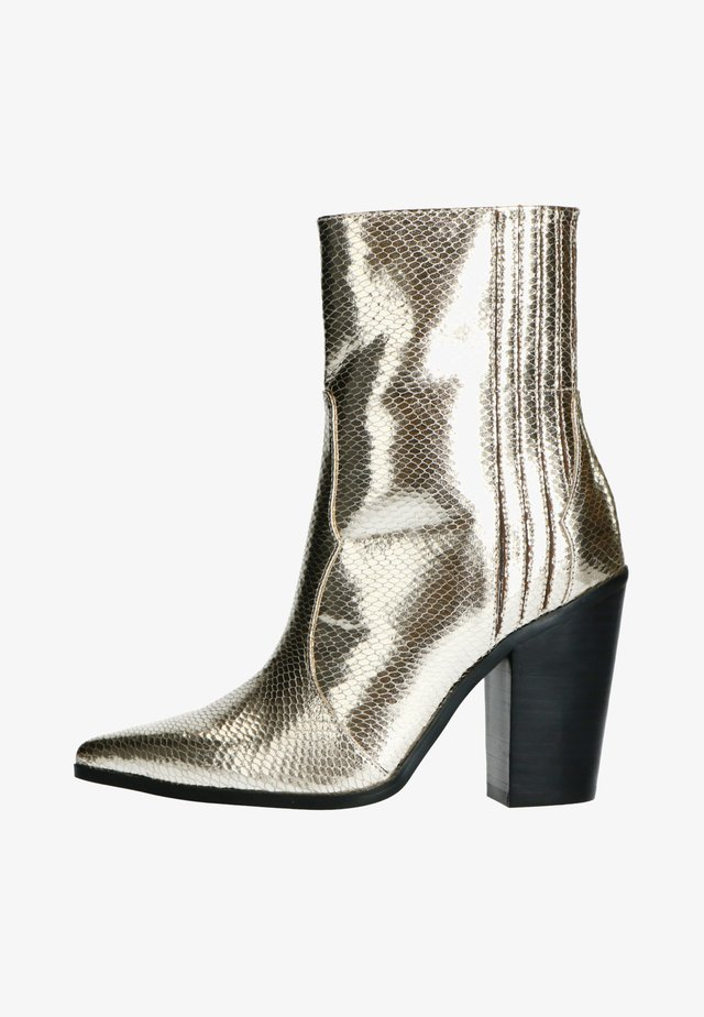 High heeled ankle boots - gold