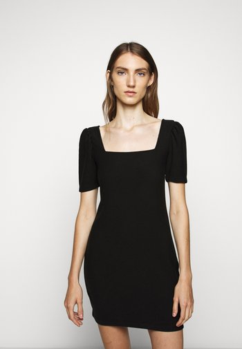 SQUARE NECK PUFF - Shift dress - black