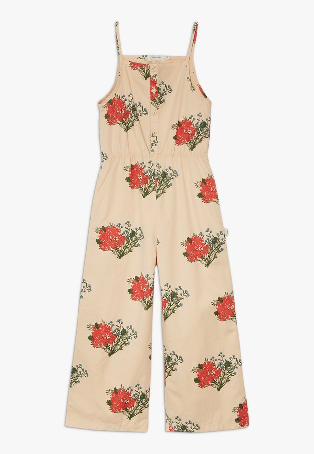 FLOWERS  - Jumpsuit - cappuchino/red
