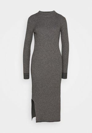 ROLL NECK MIDI DRESS - Strikket kjole - mid grey heather