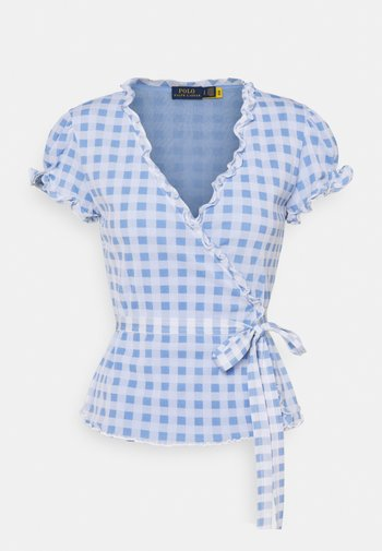 Print T-shirt - blue/white gingha