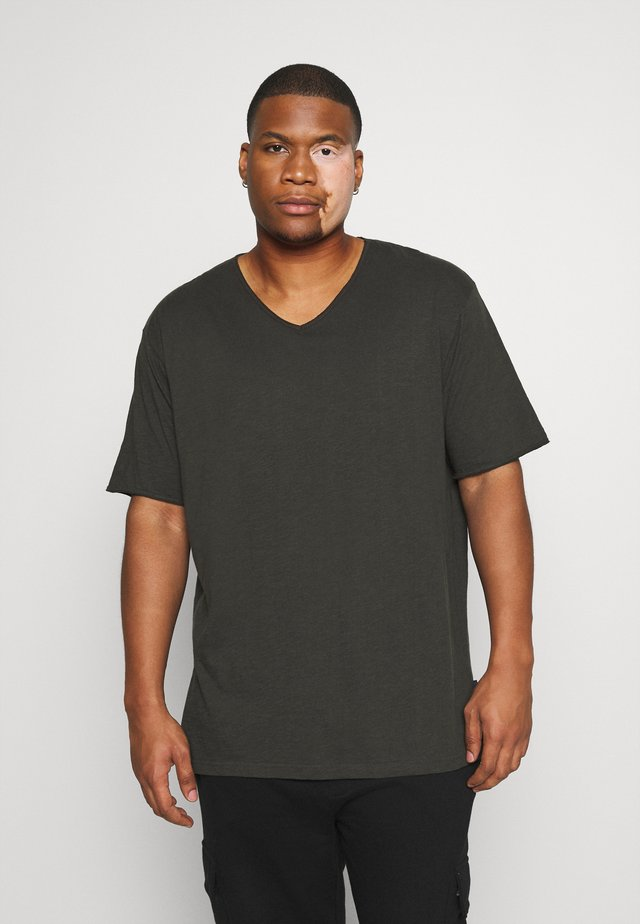 RAW VNECK SLUB TEE - T-paita - dusty black