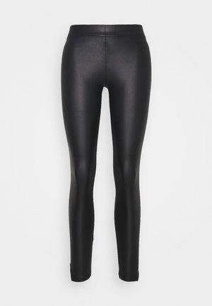 PCNEW SHINY SLIT - Leggings - Trousers - black