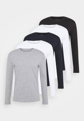 5 PACK - Pitkähihainen paita - white/dark blu/grey