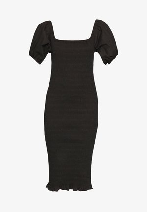 SHIRRED BARDOT MIDI DRESS - Shift dress - black