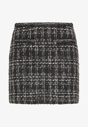 TWEED - A-line skirt - schwarz