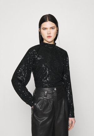 SEQUIN BALLOON SLEEVE - Long sleeved top - black