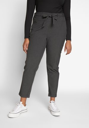 JIA BELT PANTS - Trousers - dark grey melange