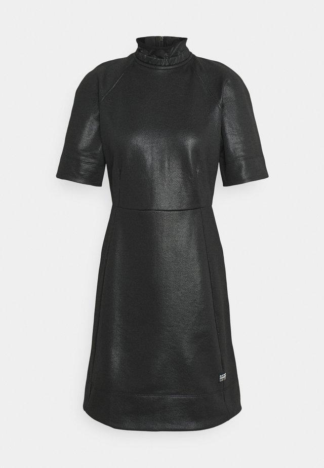 GLOSSY HIGH COLLAR SW DRESS WMN  - Day dress - dark black