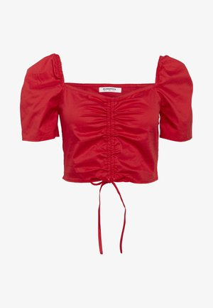 CROP TOP WITH RUCHED DETAIL - Bluzka - red