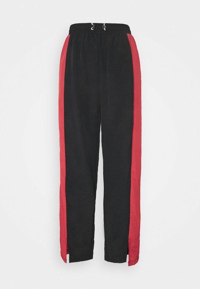TOGGLE DETAIL WIDE LEG TROUSER - Trousers - black/red