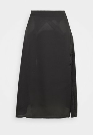 MIDI SKIRT WITH SIDE SPLIT - A-snit nederdel/ A-formede nederdele - black