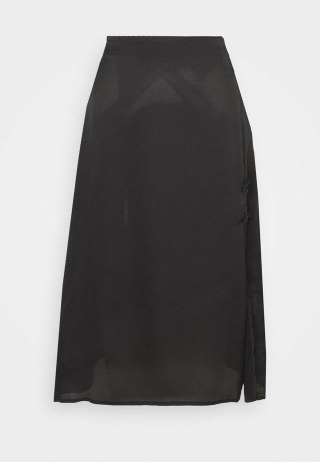 MIDI SKIRT WITH SIDE SPLIT - Áčková sukně - black