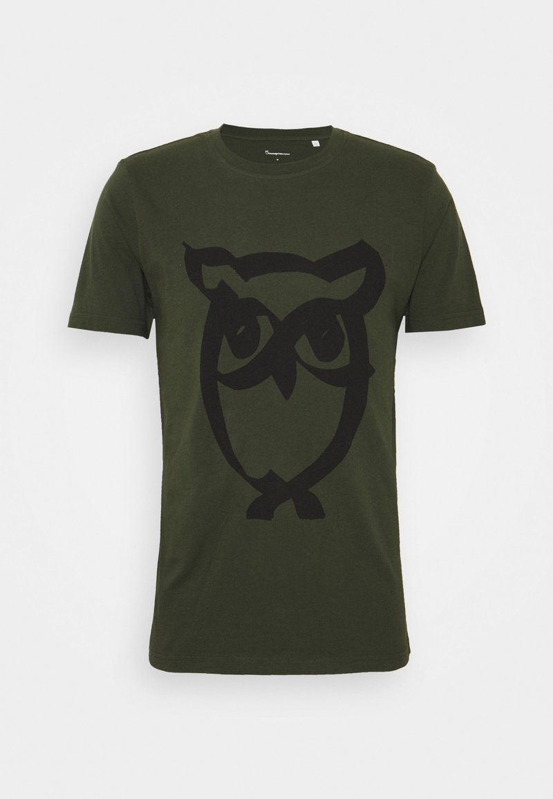 KnowledgeCotton Apparel - ALDER BRUSED OWL TEE - Print T-shirt - forrest night