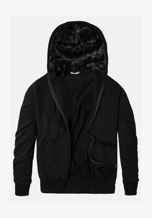 SLIM FIT RAISED FABRIC - Sweater met rits - black