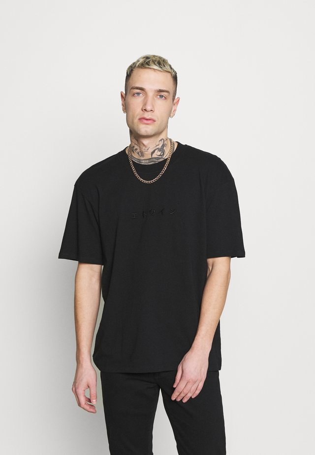 KATAKANA EMBROIDERY UNISEX  - T-paita - black