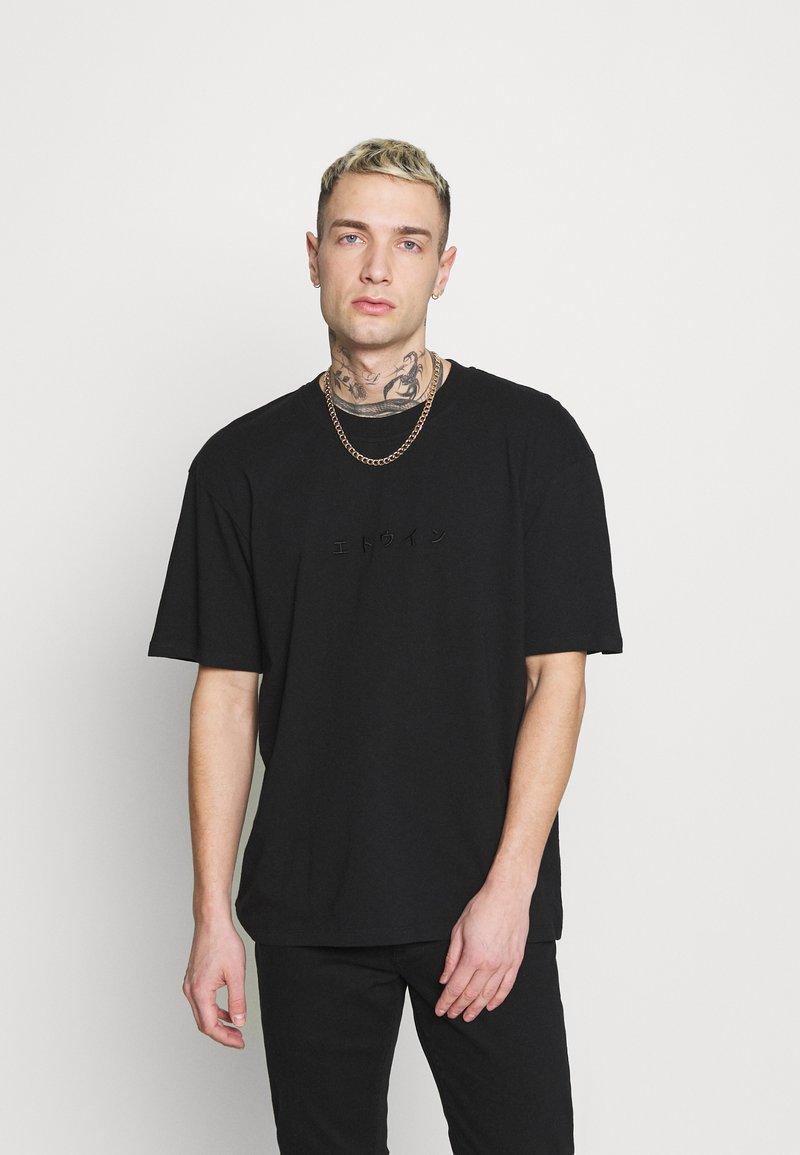 Edwin - KATAKANA EMBROIDERY UNISEX  - Basic T-shirt - black