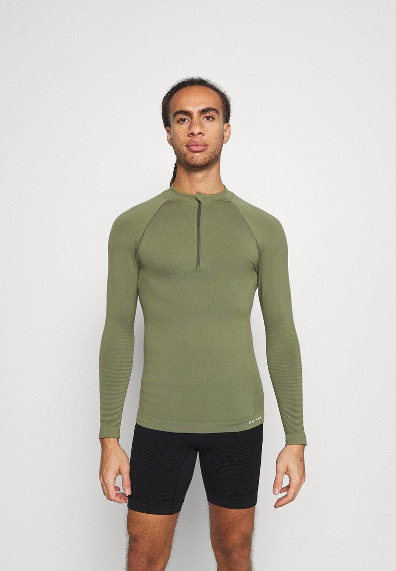 NU-IN - HALF ZIP LONG SLEEVE  - Long sleeved top - khaki