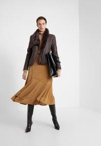 VSP - SHORT JACKET - Leather jacket - toscana dark mist - 1