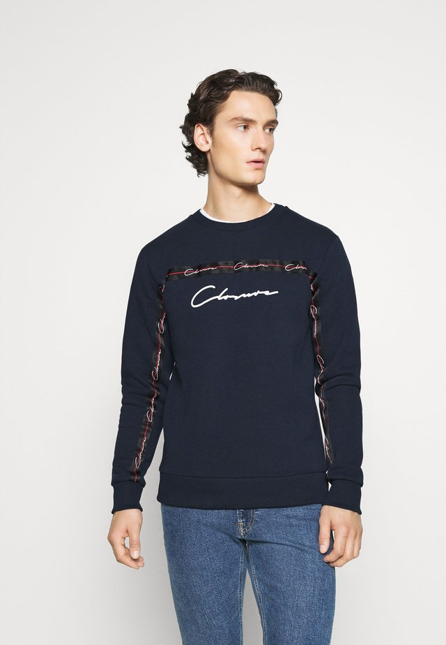 SCRIPT CREWNECK WITH TAPING - Sweatshirt - navy