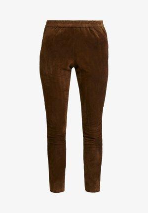 GALAPAGOS - Kožené kalhoty - brown