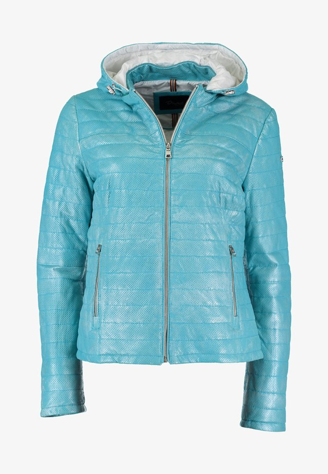 MIT KAPUZE - Leather jacket - turquoise