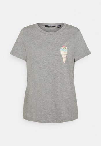 VMGALAFRANCIS BOX - Print T-shirt - light grey melange/ice waffle