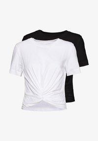 Monki - Jednoduché triko - black/white - 0