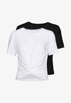 WILMA TOP 2 PACK - Basic T-shirt - black/white