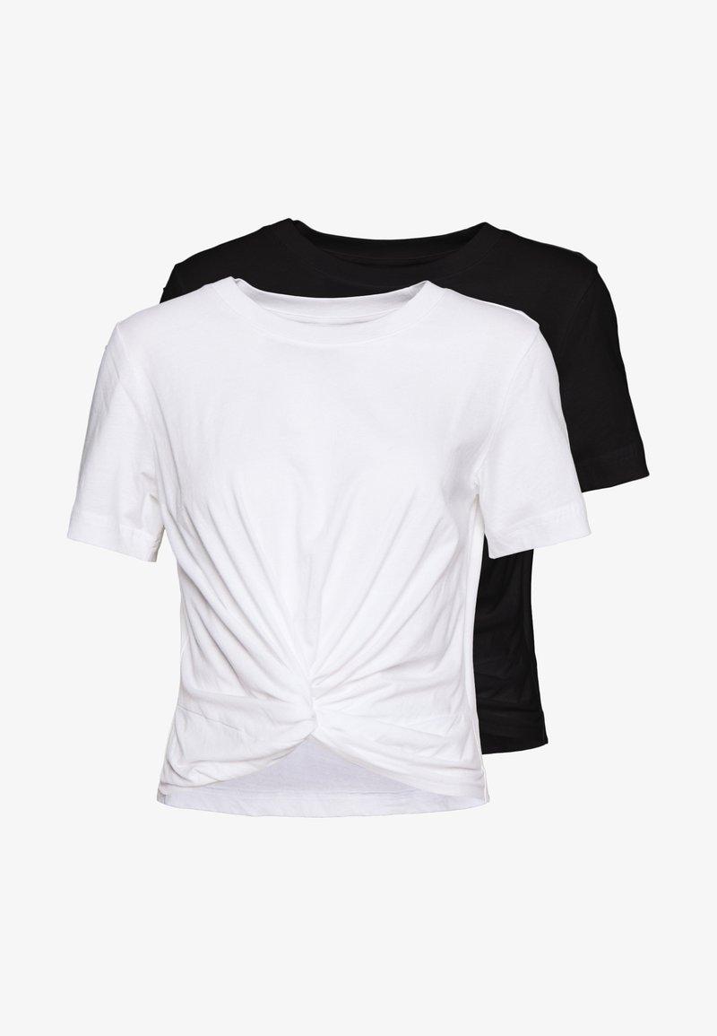 Monki - Jednoduché triko - black/white