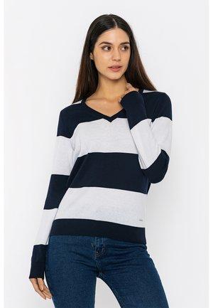 Sweatshirt - navy/white