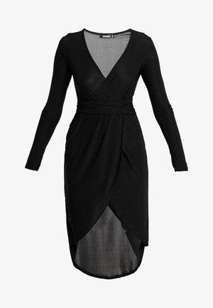 SLINKY PLUNGE WRAP BELT DETAIL MIDI DRESS - Jersey dress - black