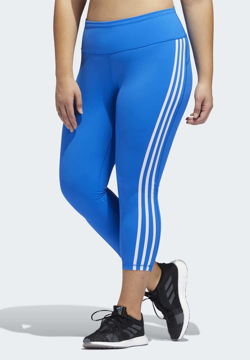 adidas Performance - BELIEVE THIS 3-STRIPES 7/8 LEGGINGS (PLUS SIZE) - Legging - blue