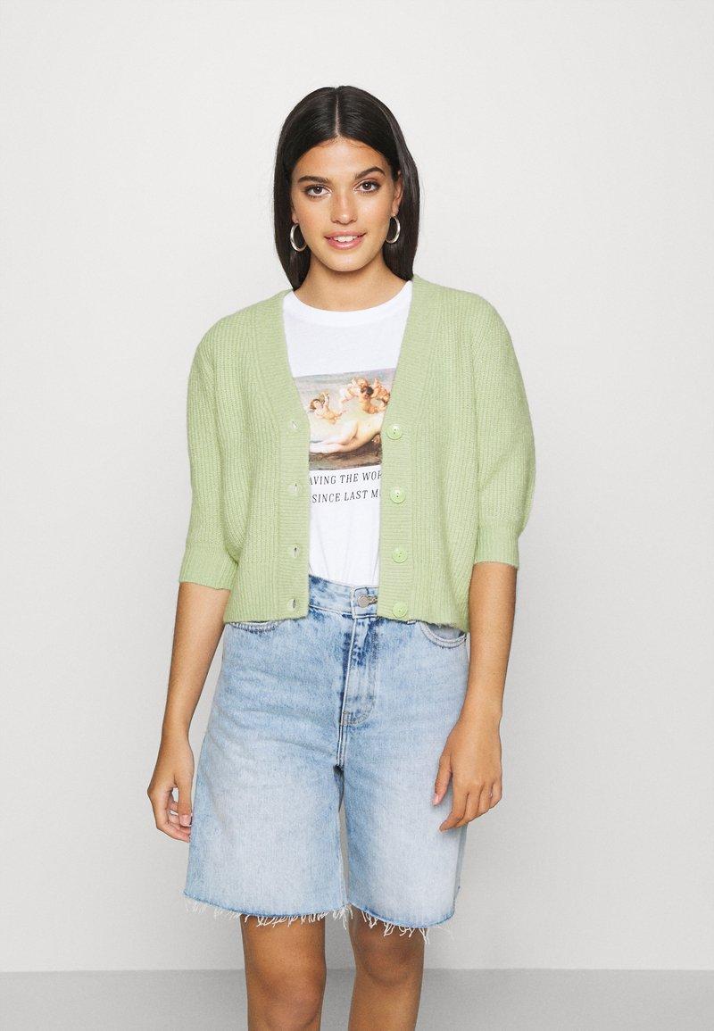 Monki - PUFFY CARDIGAN - Cardigan - green dusty light