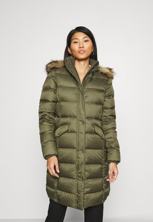 COAT LONG HOOD FLAP POCKETS - Down coat - natural olive