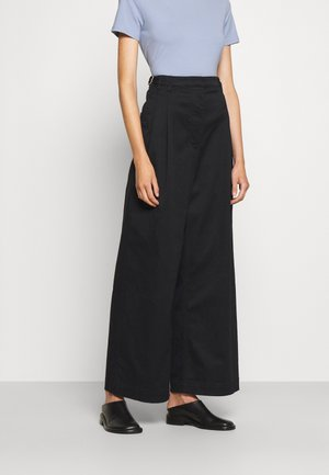 WIDE LEG PANTS - Kalhoty - black
