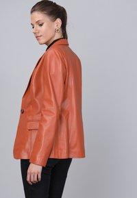 Basics and More - Leather jacket - orange - 2