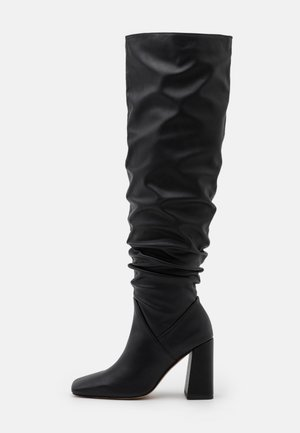 BLOCK SQUARE TOE BOOTS - Over-the-knee boots - black