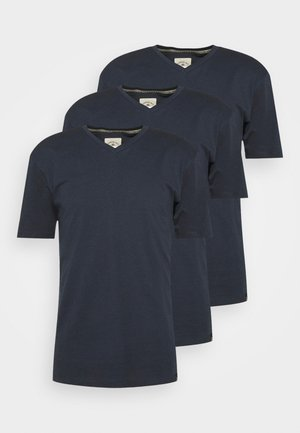 V NECK 3 PACK - T-shirt basic - navy