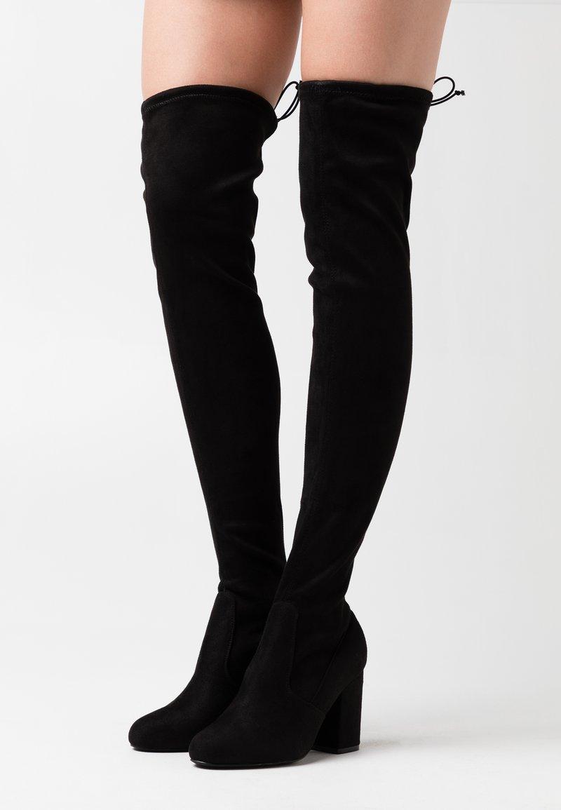Even&Odd Wide Fit - Kozačky na vysokém podpatku - black