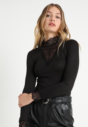 YASBLACE HIGH NECK - Long sleeved top - black