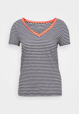VINTAGE V NECK TEE STRIPE RINGER - Print T-shirt - ivory/navy