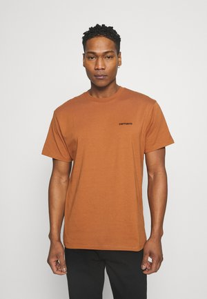 SCRIPT EMBROIDERY - Basic T-shirt - rum/black