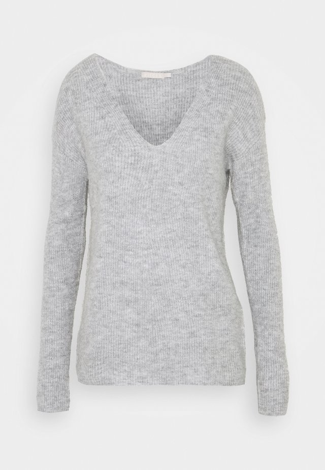 PCBABETT NECK  - Strickpullover - light grey melange