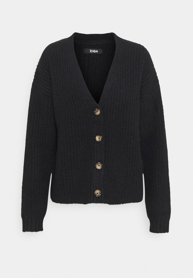 CHUNKY WOOL BLEND CARDIGAN - Vest - black