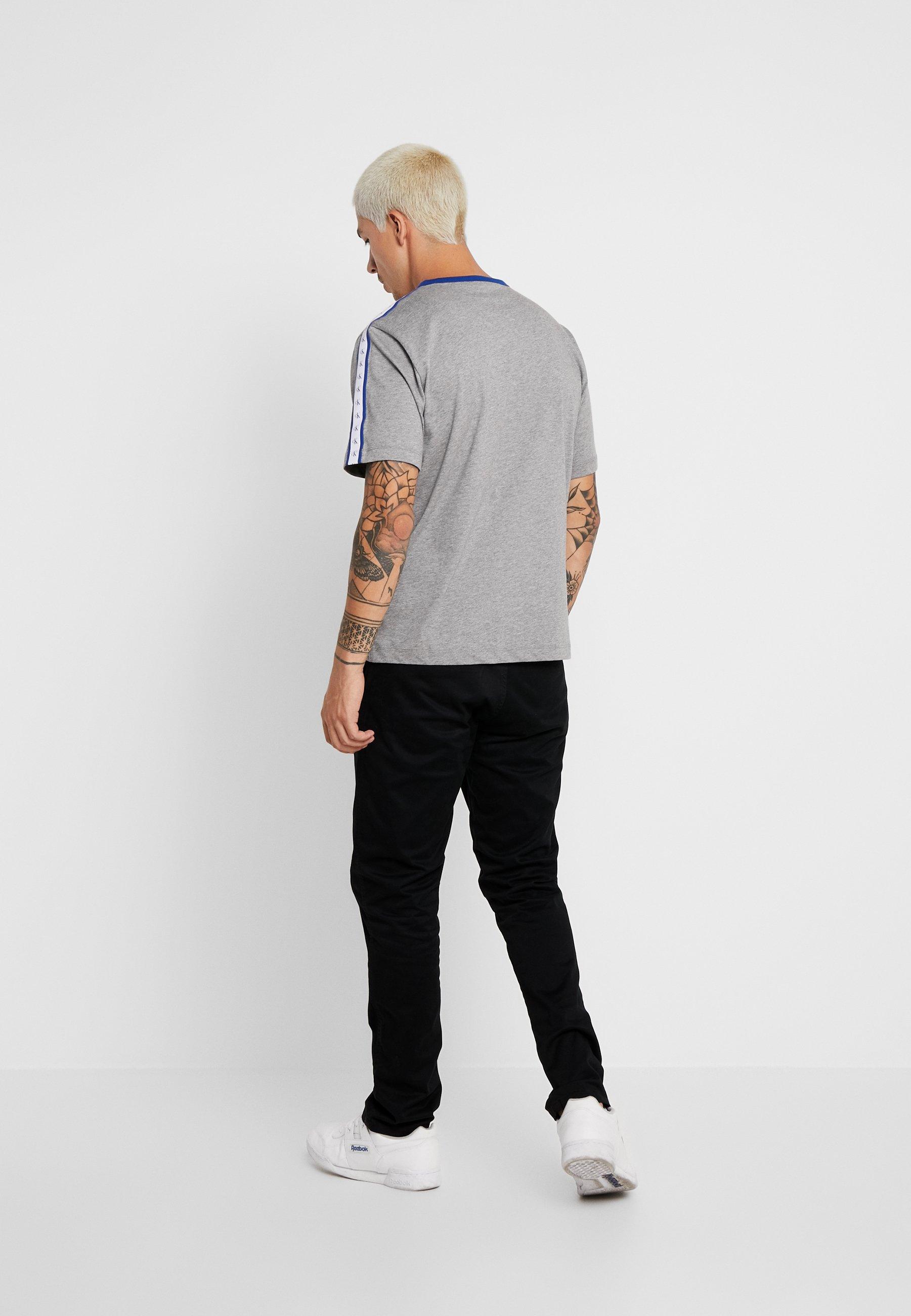 Calvin Klein Jeans Monogram Tape Tee - T-shirt Print Grey Melange/mazarine