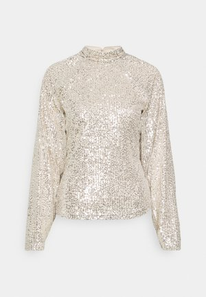SEQUIN BALLOON SLEEVE - Langærmede T-shirts - silver